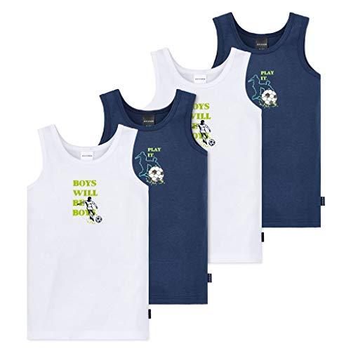 Schiesser - Kids Boys - Unterhemd - 4er Spar-Pack (104 Blau/Weiß - Fußball Motiv)