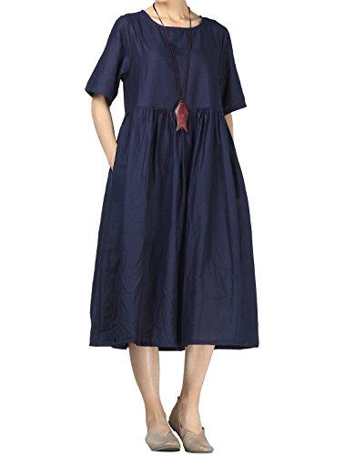 Mallimoda Damen Leinen Sommer Kleider Rundhals Kurzarm Midi Kleid mit Doppelte Taschen Navy XL