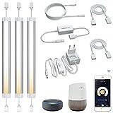 Lámpara de armario, iluminación inteligente, funciona con Alexa, Google Home, control de voz, control de aplicación remoto, RGBCW 12 W (4 W x 3), 3 unidades