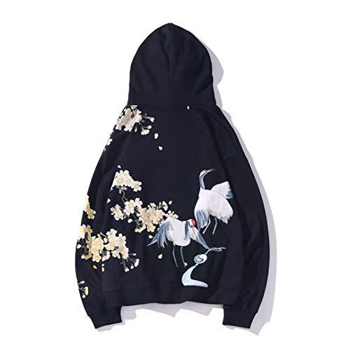 Hombres Hip Hop Sudadera con Capucha Harajuku Streetwear Chinese Crane Print Hoodies Pullover Black M