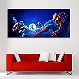 Cuadro Lienzo Spiderman Iron Man Capitan America Efecto Pintura – 60x27 cm - Lienzo de Tela Bastidor de Madera de 3 cm - Impresión en Alta resolución