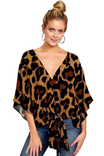 SLYZ Blusa De Mujer Europea Y Americana De Primavera Y Verano De Talla Grande Blusa Estampada Anudada De Manga Corta con Cuello En V De Moda