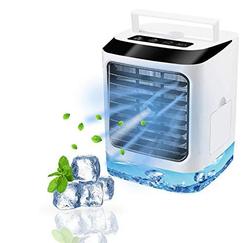 Mobile Klimaanlage, Tragbare Mini Luftkühler, 4 in 1 Luftkühler, Ventilator, Luftbefeuchter, Ventilator mit 3 Geschwindigkeiten, 7 Farben LED für Schlafzimmer Wohnzimmer Büro Reise