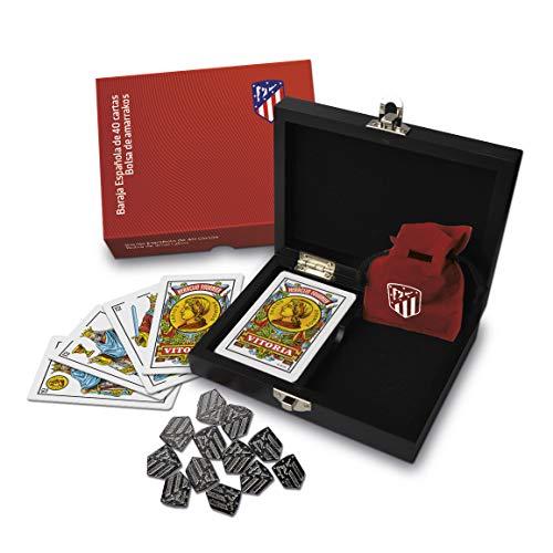 Fournier Set Regalo Ufficiale dell'Atletico de Madrid, in Scatola di Legno con Mazzo di Carte Spagnola e Carte, Colore Materasso (1044182)