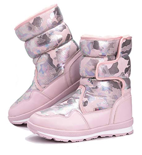 DADAWEN Girl's Boy's Waterproof Outdoor Cold Weather Snow Boots (Toddler/Little Kid/Big Kid) Sakura Pink US Size 1 M Little Kid