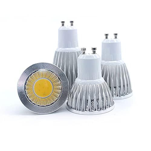 GHC LED Bombillas 4pcs / Lote LED Lámpara Spotlight E27 E14 GU5.3 Luces 12W Spotlight Bulb 220V COB LED MR16 DC12V GU10 LED LED iluminación (Color : Cold White, Talla : GU10 AC85 TO 265V)