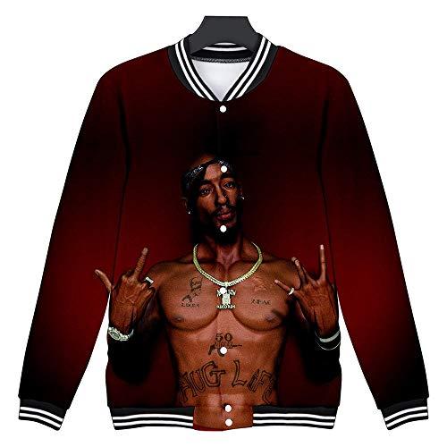 DS Herren/Damen Pullover 2pac Tupac 3D Print College Jacke Unisex Kapuzenpullover Baseball Jacke Varsity Jacke Crew Neck Sweatshirt Tops