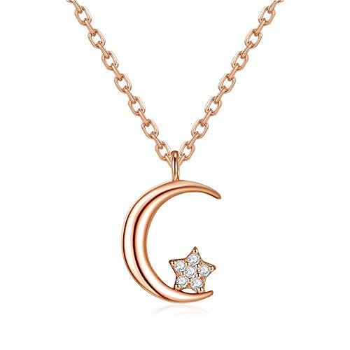 Collar Simple Moon Stars Collar JoyeríA De Moda S925 Collar Colgante De Plata Esterlina para Novia Y Hermanas, Regalo De CumpleañOs De La Esposa, Regalo del DíA De La Madre (Color : Rose Gold)
