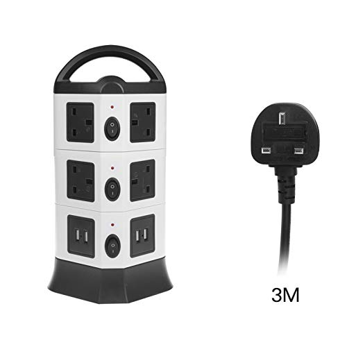 Vinteky Surge Protector Power Strip Tower Multi Outlet Plugs with 4 USB Ports 3M Wire Extension Lead Universal Socket Charging Station for PC Phone Home Office 3 Layers, Grey