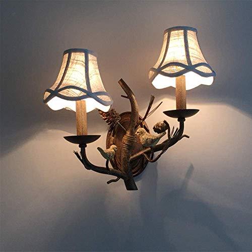 PLLP Lámpara de Araña Decorativa, Lámpara de Techo, Lámpara de Pared Doble de Cabecera Americana, Lámpara de Pared de Pájaro de Cono de Pino de Hierro Forjado Vintage Nórdico, Lámpara de Sala de Esta