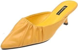 Cosplay-X Women Comfort Kitten Low Heel PU Office Mules Closed Pointed Toe Slide Sandals Slip On Dress Pump Shoes