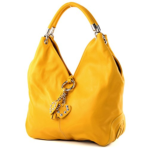 modamoda de - 330 - ital Handtasche Shopper Schultertasche Leder, Farbe:Sonnengelb