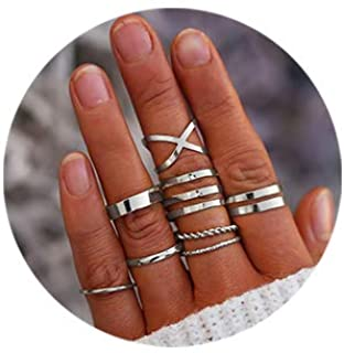FINETOO 8 PCS Simple Knuckle Midi Ring Set Vintage Plated Gold/Silver for Women/Girl Finger Stackable Rings Set DIY Jewelr...