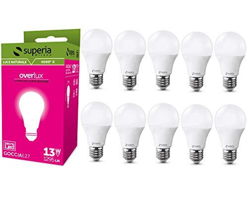 Superia Lampadina LED E27 Goccia, 13W (Equivalenti 75W), Luce Naturale 4000K, 1296 lumen, OP13GN, Pacco da 10