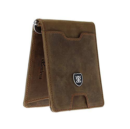 EMIRUS® Geldbeutel Herren Echt Leder |VIAGGIO| TÜV geprüft | RFID NFC Schutz | Geldbörse 11 Kartenfächer Geldklammer dünn Münzfach (Dunkelbraun)