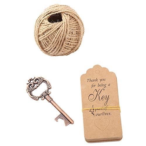 Tarjeta abrebotellas, abridor de botellas con llaves, llaves vintage de bronce para bodas festivas(20pcs+tag+hemp rope)
