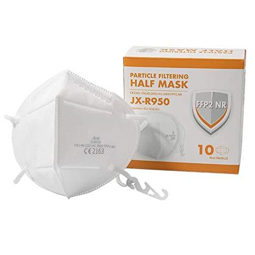 JIUXI 10er FFP2 Maske, EXTRA FÜR BRILLENTRÄGER, Atemschutzmaske, 95% Filtrationskapazität, EU CE Zertifiziert von Offizieller Prüfstelle CE2163 , 5 Lagen, Einzeln Verpackt