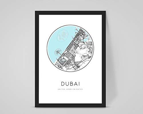 Personalisierbare Stadt-/Stadtkarte, Dubai UAE, personalisierbar, weiß, A3 print (297x420mm) 11.7x16.5 in
