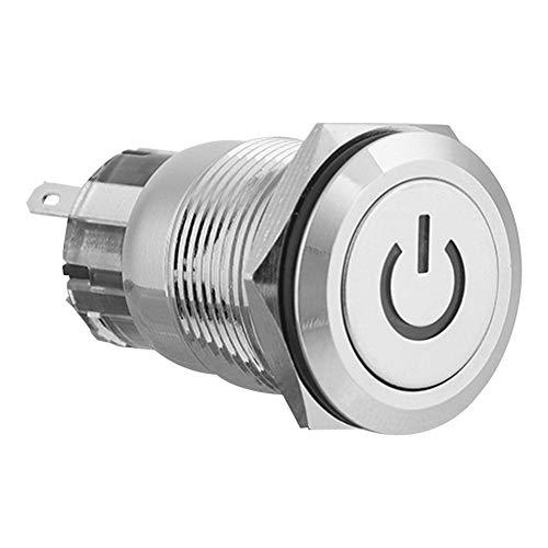 Interruptor de botón pulsador duradero carcasa exterior de metal de cabeza plana...