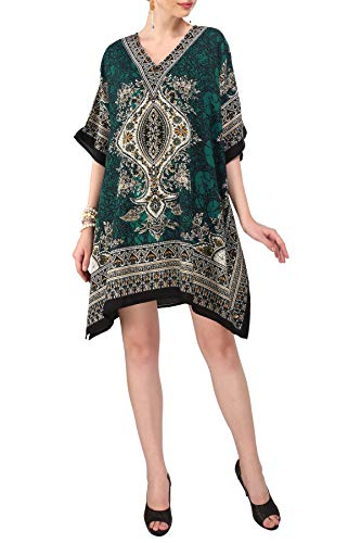 Miss Lavish London Frauen Kaftan Tunika Kimono Stil Plus Größe Kleid für Loungewear Ferien Nachtwäsche & Jeden Tag Abdeckung nach Oben Oberteile #121 [Grün]