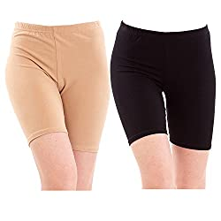 Pixie Biowashed 220 GSM Cotton Lycra Cycling Shorts for Girls/Women / Ladies Combo (Pack of 2) Beige and Black - Free Size