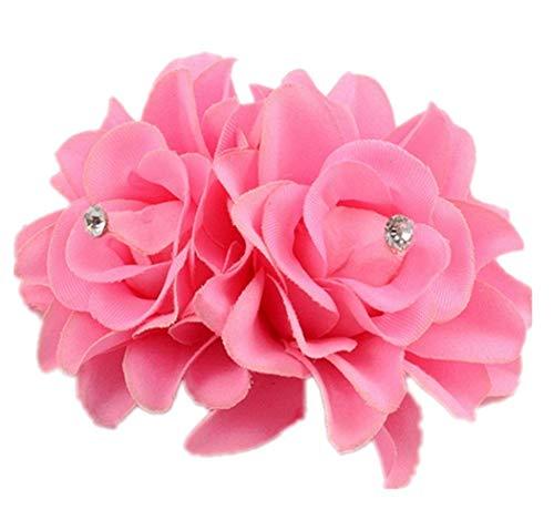 Plus Nao(プラスナオ) ヘアクリップ ヘアピン ヘアアクセサリー ヘッドドレス コサージュ フラワーモチーフ お花 髪飾り 髪留め レディース - ピンク