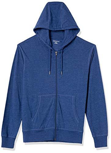 Amazon Essentials Lightweight Jersey Full-Zip Fashion-Hoodies, Blau meliert, US M (EU M)