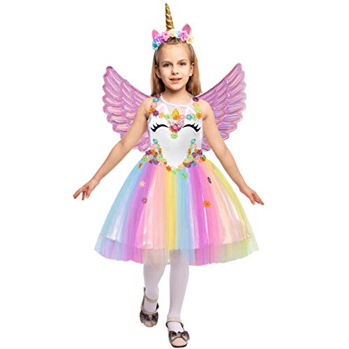 Spooktacular Creations Disfraz de Princesa Fiesta Unicornio Vestidos con Diadema y alas para niños (S)