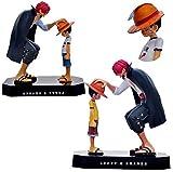 CXNY 18 cm One Piece Akakami no shankusu Luffy Classic Memoria Figura de acción Juguetes muñeca colección Navidad Juguete sin caja-2pcs / Set
