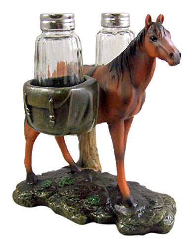 Bay Western Pack Horse Salt and Pepper Shaker Holder, 6 1/2 Inch (Shakers Included)