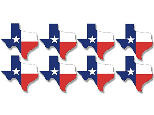 Sheet of 8 Texas Shaped TX Flag Stickers (tx Scrapbooking Decals)
