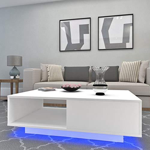 JYMTOM Hochglanz-weißer rechteckiger Couchtisch, LED-Licht, moderner Beistelltisch, multifunktionaler Beistelltisch mit Ablage und 1 Schublade, Wohnzimmer-Heimbüro-Möbel (weiß)