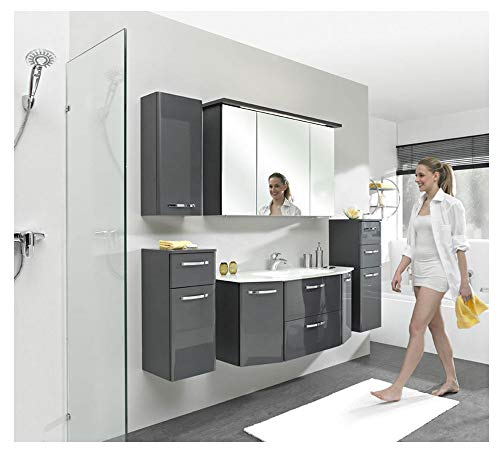 Pelipal - Velo 11 - Badmöbel-Set - 112 cm - 6-teiliges Set, komplett mit Spiegelschrank, Mineralmarmor-Waschtisch usw. in Anthrazit Hochglanz, EEK: A+ (Spektrum A++ - A)