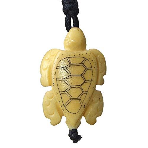 Yak Bone Jewelry Hawaii Surfer Pendant Men Necklace Vintage Yellow Sea Turtles Necklace Handmade Gift Miniature