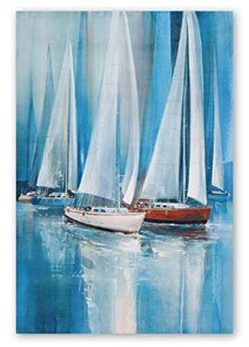 Modern Abstract Harbor Sailboat Painting Canvas Wall Art Posters Living Room Decoration Painting Decor (15.74x23.62 in)40x60 cm Frameless