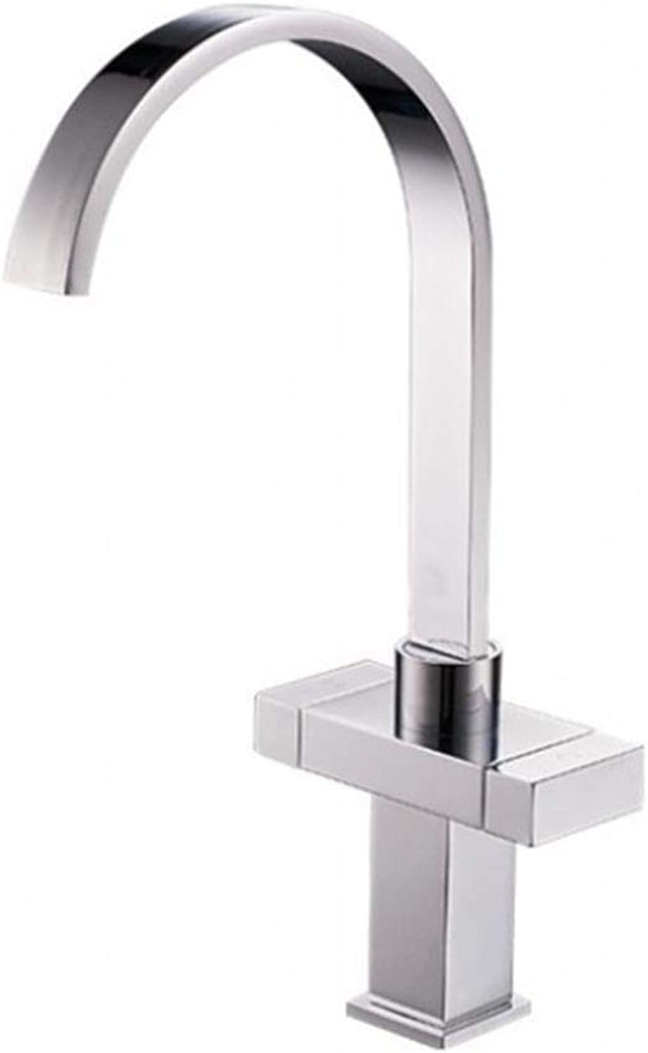 GYLFDC Brass Lead-Free Faucet, Square Curved Kitchen Faucet, 306 Stainless Steel, Brushed and Polished, Hot and Cold Mixing