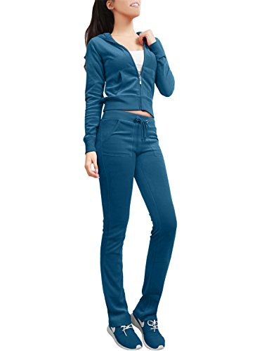 NE PEOPLE Womens Casual Basic Velour Zip Up Hoodie Sweatsuit Tracksuit Set S-3XL Teal