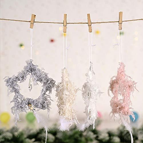 strimusimak Pluma Colgante De Navidad Colgante Estrella En Forma De Corazón Colgante Creativo Adorno Colgante para Decoración De Fiesta De Sala De Estar Rosado