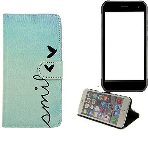 K-S-Trade® Schutzhülle Für Cyrus CS 40 Hülle Wallet Case Flip Cover Tasche Bookstyle Etui Handyhülle ''Smile'' Türkis Standfunktion Kameraschutz (1Stk)