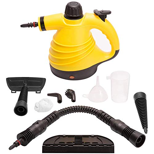 TTIK Multi-Purpose Handheld Pressurized Steam Cleaner with 9 Piece Accessories Best Germ Killer for Stain Removal Steamer Carpets Curtains Car Seats
