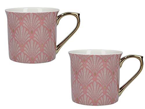 V&A Palace - Juego de tazas con diseño de concha de vieira, asas bañadas en oro y caja de regalo, porcelana fina, color rosa, 300 ml, juego de 2 tazas
