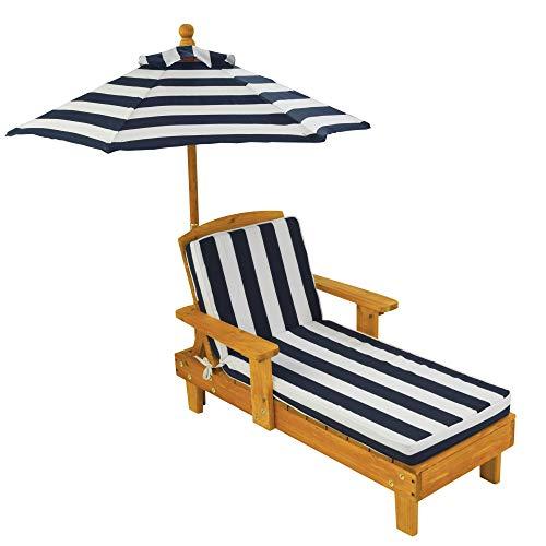 KidKraft- Tumbona de madera con sombrilla, muebles de jardín para niños, Color Azul (105) , color/modelo surtido