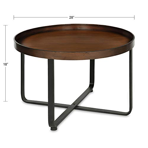 "Kate and Laurel Zabel Metal Coffee Table, 28"" Diameter, Bronze/Black"