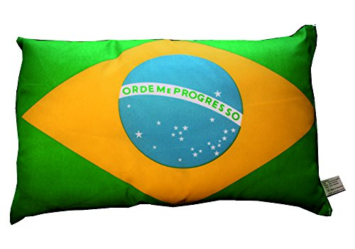 Brasilien Kissen Fahnen Deko Autokissen Brasilien Fan beide Seiten bedruckt , ca. 28 x 40 cm