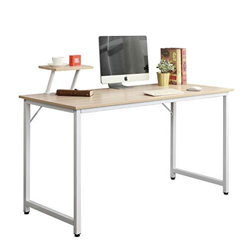 DlandHome Mesa de Ordenador 100x50cm con Panel de Soporte Escritorio de Oficina Mesa de Estudio Puesto de Trabajo Mesa de Despacho, Arce & Blanco ⭐