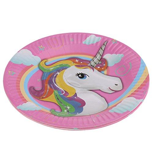 oshhni Platos de Papel Desechables de Papel Unicornio de 10 Piezas para Niños
