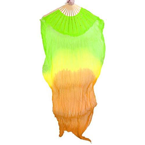 KRILY dansen fan vrouwen hand gemaakt buikdans 100% zijde Tie-Dye bamboe lange fan viool voor feestjes Stage Performance rekwisieten outdoor dans