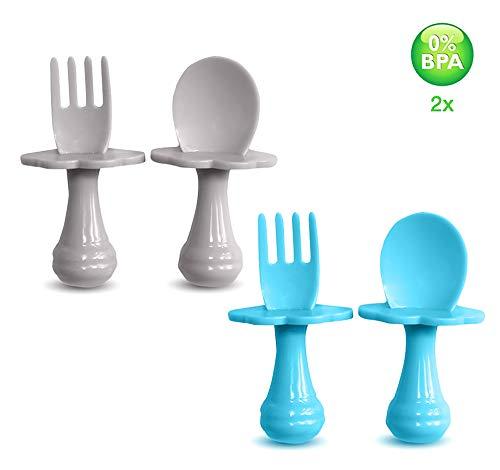 Cuchara para bebé - Tenedor para bebé - Cuchara y tenedor para bebé, Multicolor, Juego de cubiertos para alentar a su bebé a comer independientemente, sin BPA. (Pack de 4, Azul/Gris)