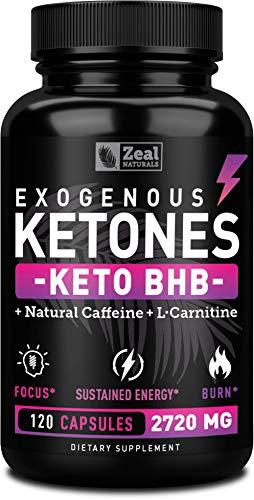 Keto BHB Exogenous Ketones Pills (2720mg | 120 Capsules) Keto Pills w. goBHB® Salts, Natural Caffeine & L-Carnitine - Keto BHB Capsules Beta Hydroxybutyrate for Ketosis Keto Vitamins Keto Salts