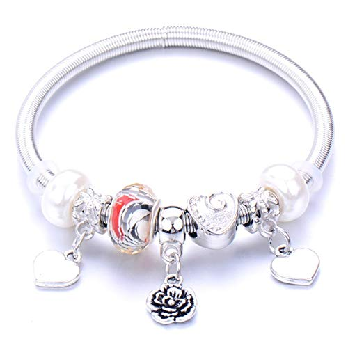 Handmade Love Peace Key Elastic Bead Bracelet 6 Colour Horse Alloy Lotus Charm Bracelet For Women Men Yoga Jewelry Gifts-23,China